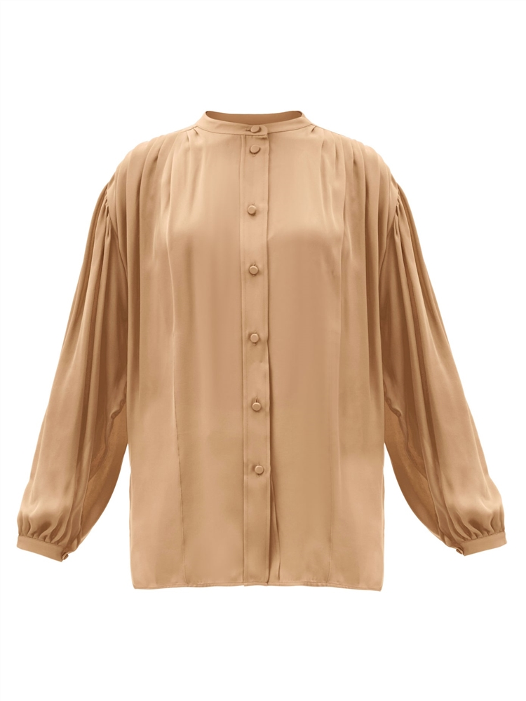 Denny balloon-sleeve pleated silk-georgette blouse