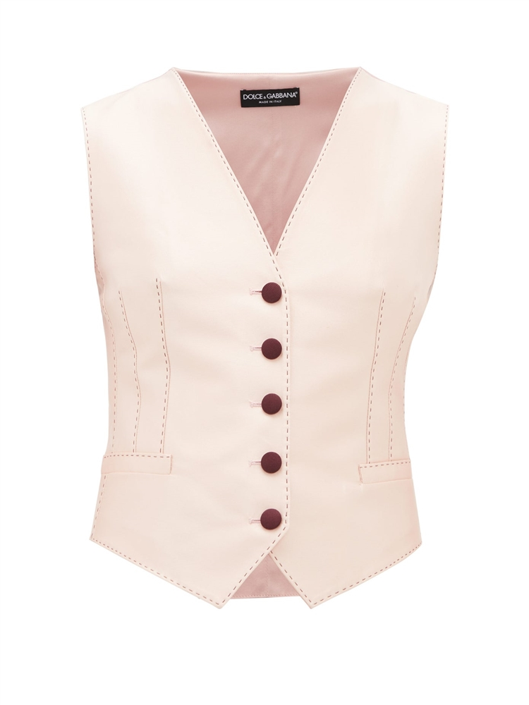 Darted silk-blend waistcoat