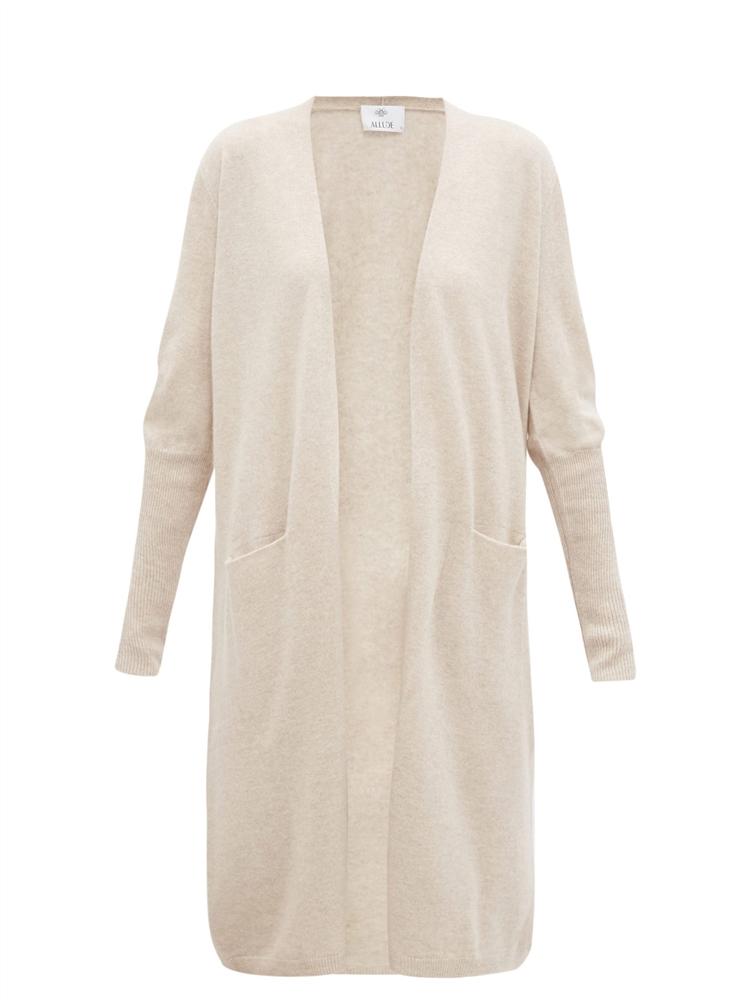 Slip-pocket longline cashmere cardigan