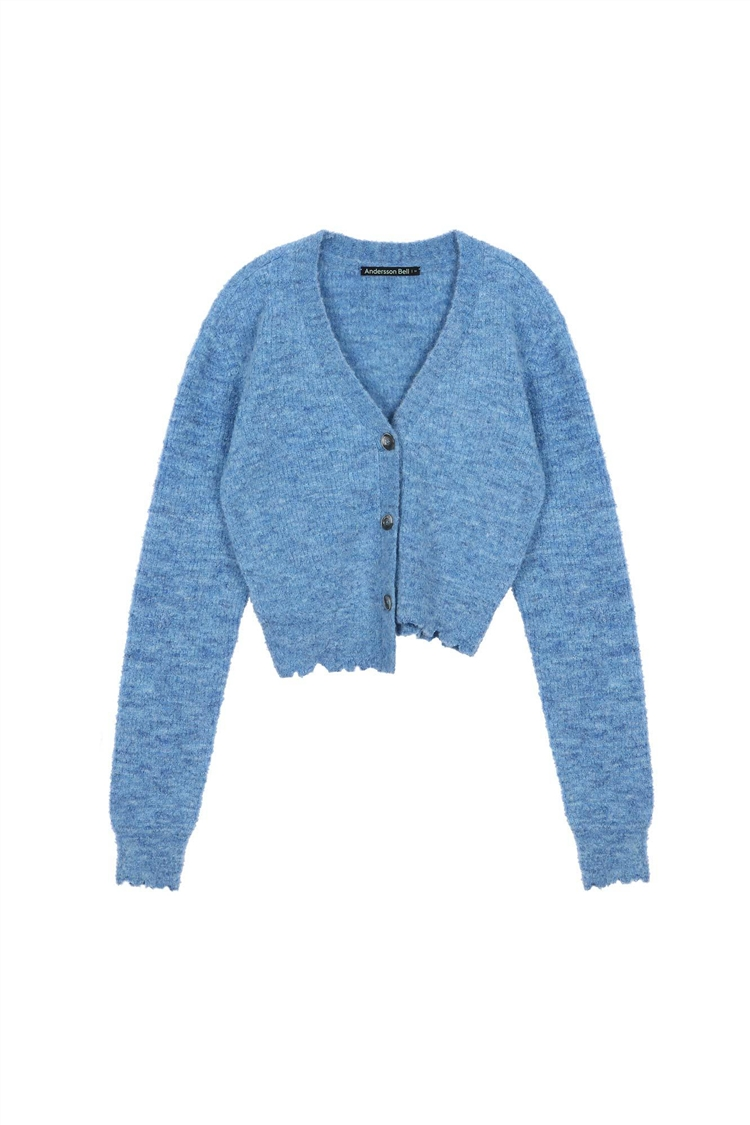 LUA ALPACA DAMAGED CARDIGAN atb485w(MELANGE BLUE)