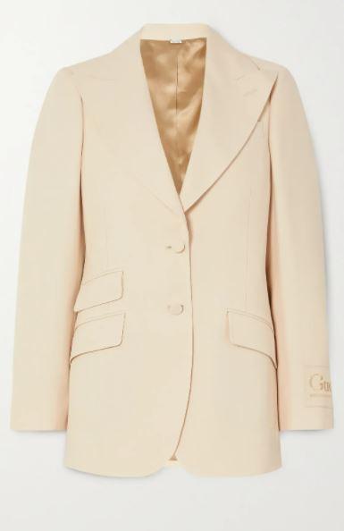Appliqued silk and wool-blend blazer