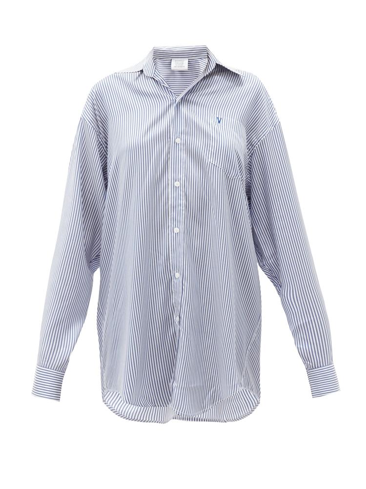 오버사이즈 스트라이프 실크 셔츠