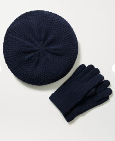 Cashmere beret and gloves set