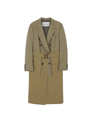 JACKET TRENCH MIXED COAT awa313w(KHAKI)