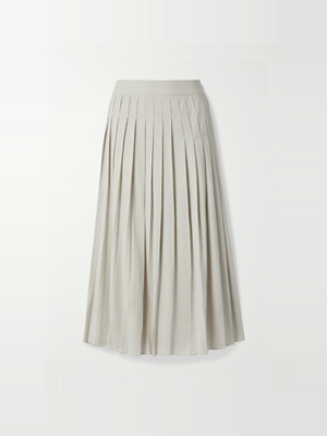 Co - Pleated Crepe Midi Skirt - Cream