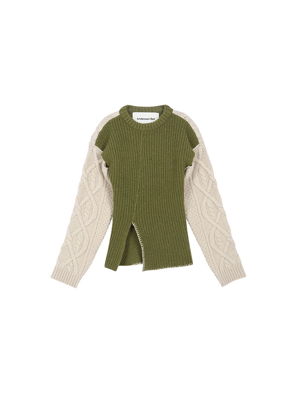 MOLLYNA CABLE WOOL SWEATER atb486w(KHAKI/IVORY)