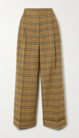 Checked wool-blend wide-leg pants
