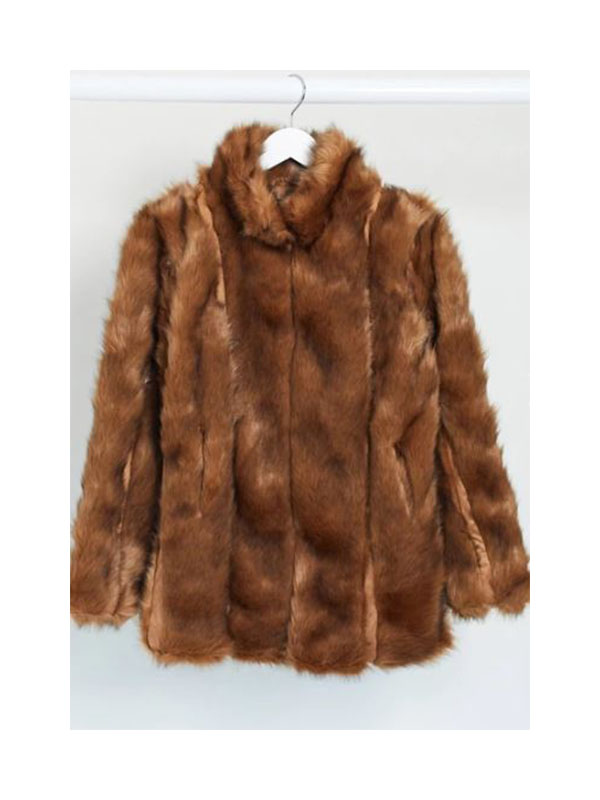 Missguided panelled faux fur coat in brown