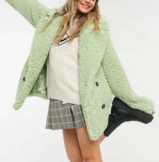 ASOS DESIGN double breasted teddy borg coat in mint