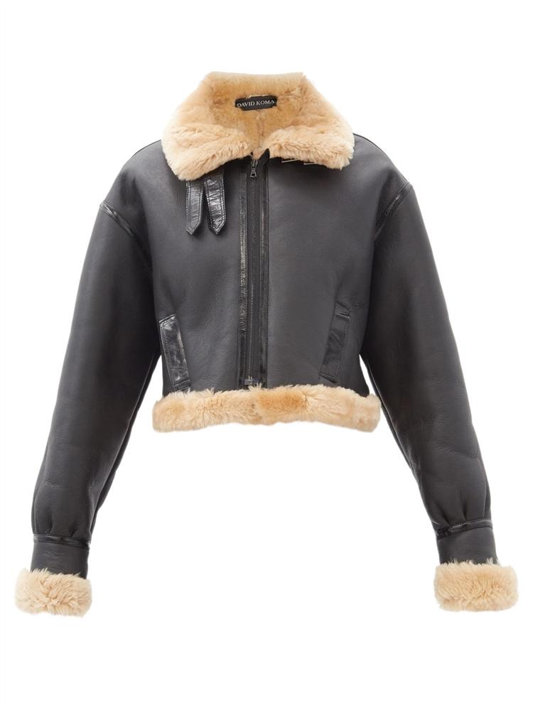 크롭 시어링 재킷