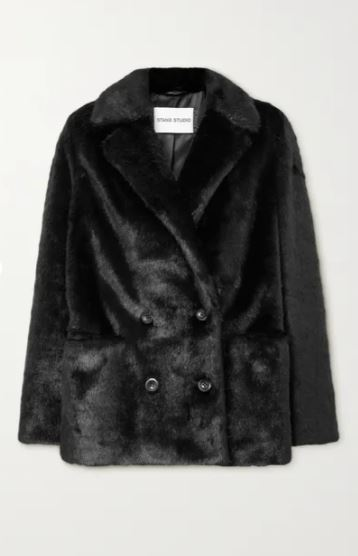 Annabelle double-breasted faux pony hair blazer