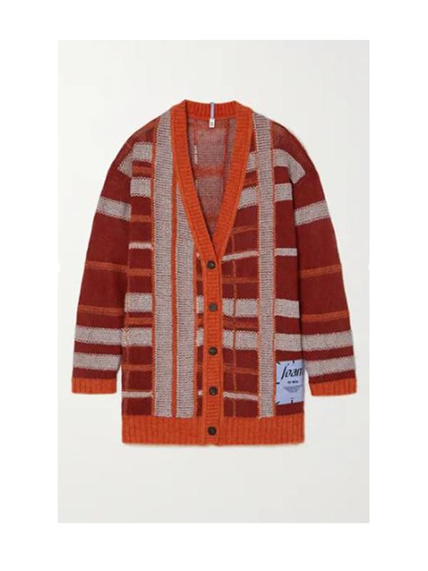 Appliquéd checked linen-blend cardigan