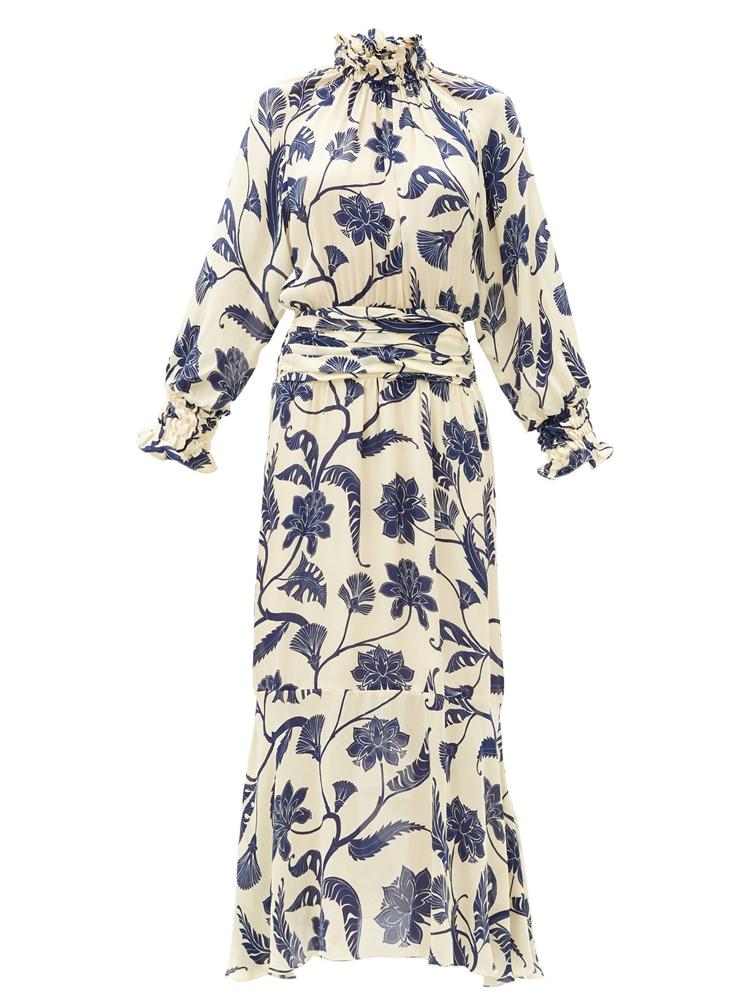 세이크리드 라이팅 플로럴 프린트 실크 미디 드레스