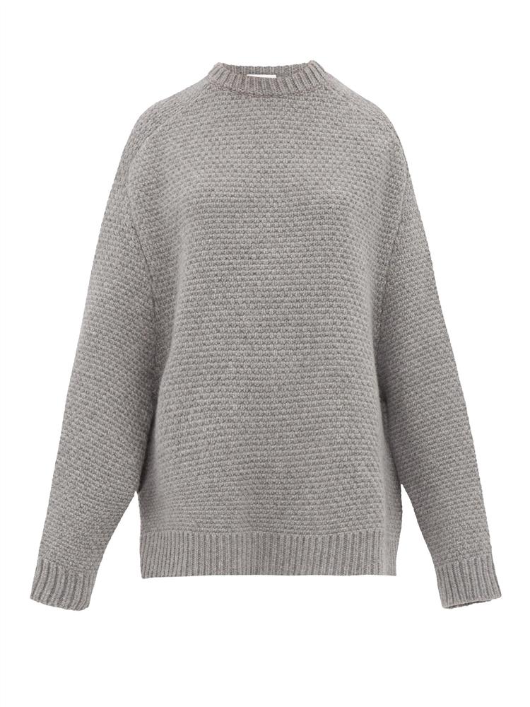 크루넥 바스켓 울 스웨터