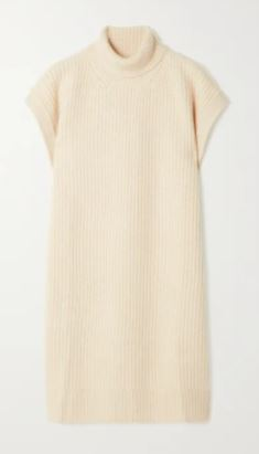 Ribbed cashmere turtleneck poncho