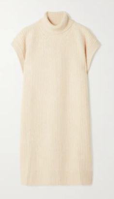Ribbed cashmere turtleneck poncho