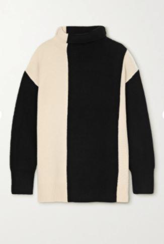 Two-tone merino wool turtleneck sweater