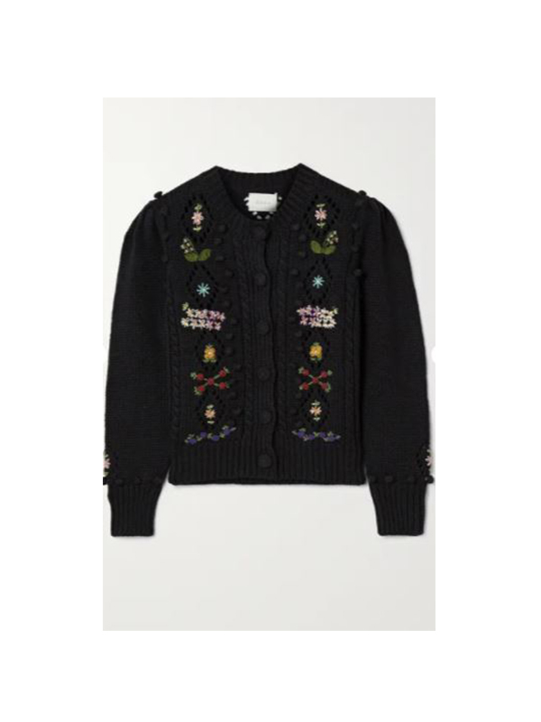 Forget-Me-Not embroidered cable-knit cotton and wool-blend cardigan