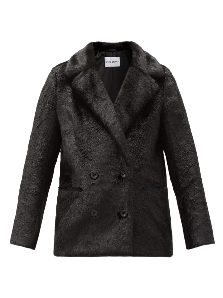 애나벨 더블 브레스트 인조 퍼 재킷