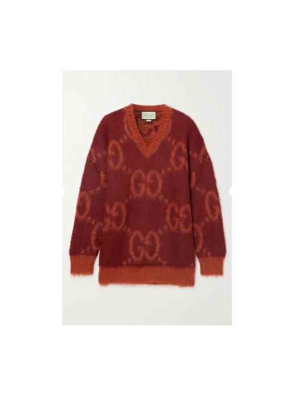 Intarsia mohair-blend sweater