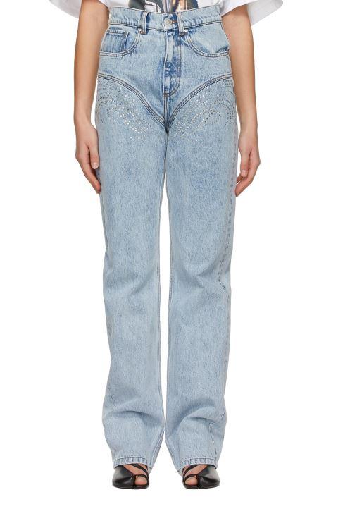Blue Crystal Rhinestone Jeans