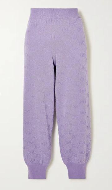 Metallic wool-blend jacquard track pants