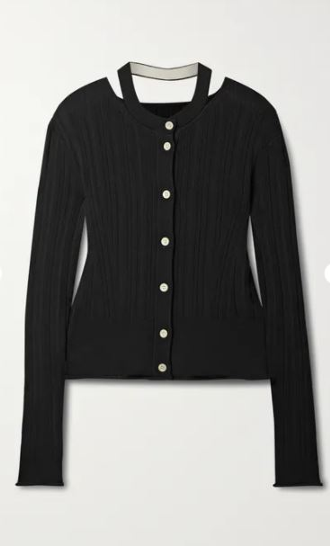 Cutout ribbed silk and cotton-blend cardigan