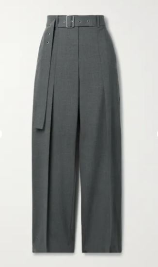Belted wool-blend straight-leg pants