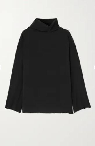 Draped silk-blend chiffon blouse
