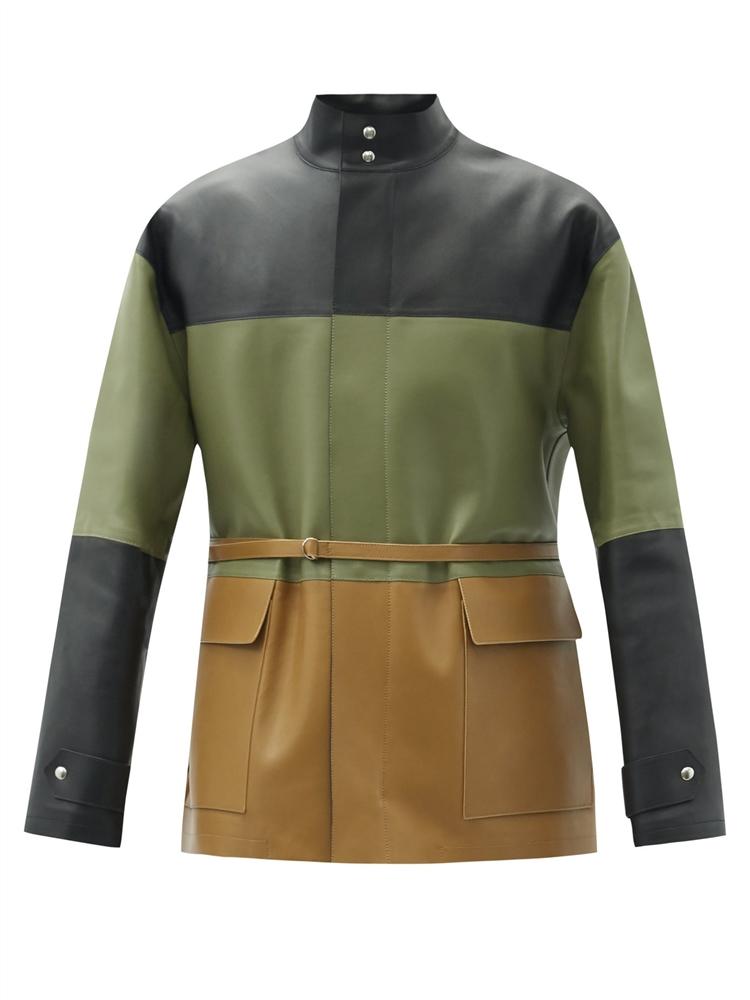 아나그램 패치워크 가죽 재킷