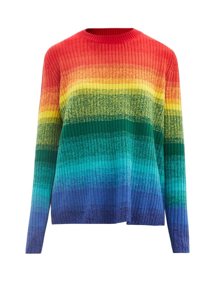 모프 스트라이프 골지 캐시미어 스웨터