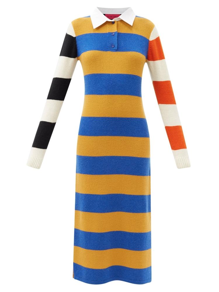 스트라이프 캐시미어 럭비 드레스