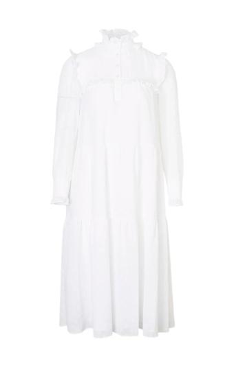 트리옹프 자수 장식 면 베일 프릴 드레스