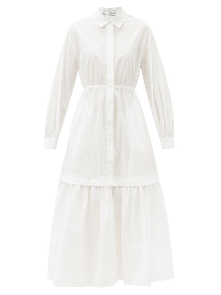 티어드 코튼 블렌드 셔츠 드레스
