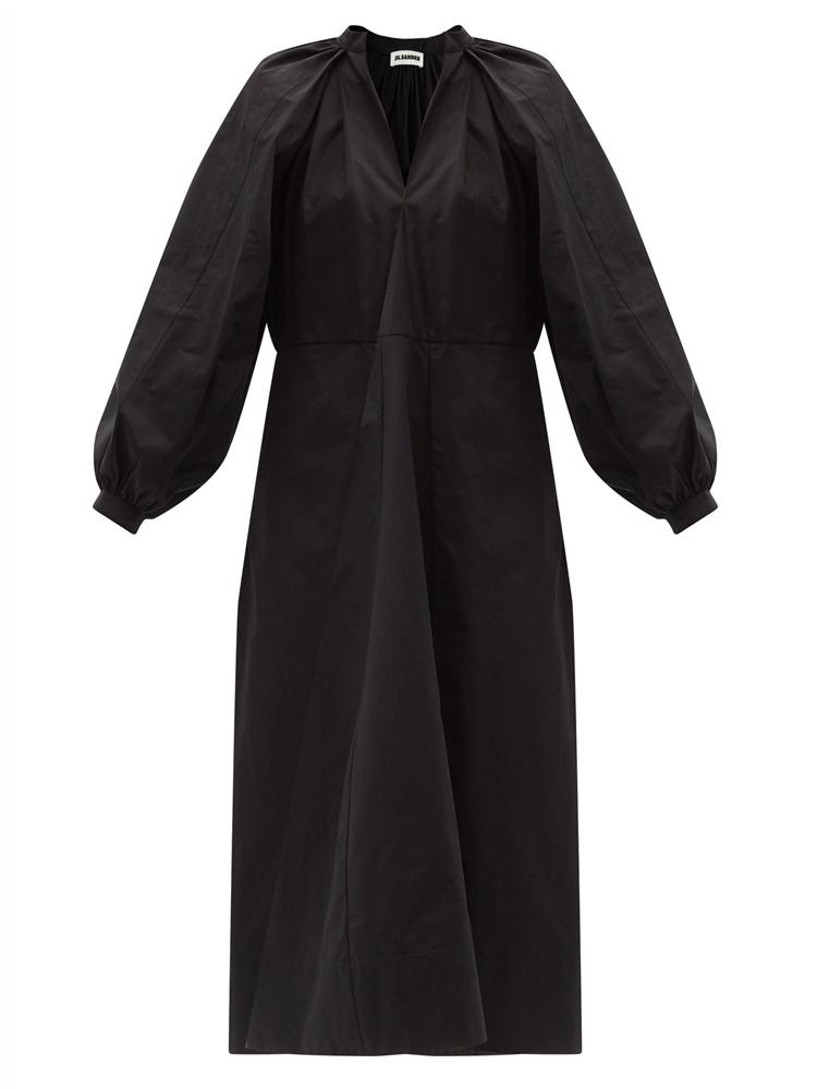 벌룬 슬리브 코튼 포플린 미디 드레스