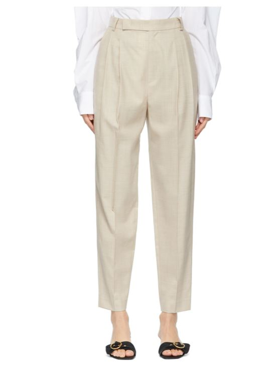 Beige Summer Wool Tapered Trousers