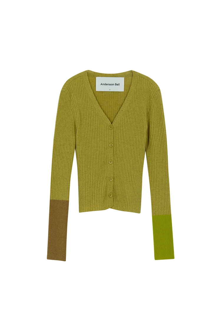 RIONA POINT SLEEVE KNIT CARDIGAN atb537w(OLIVE)