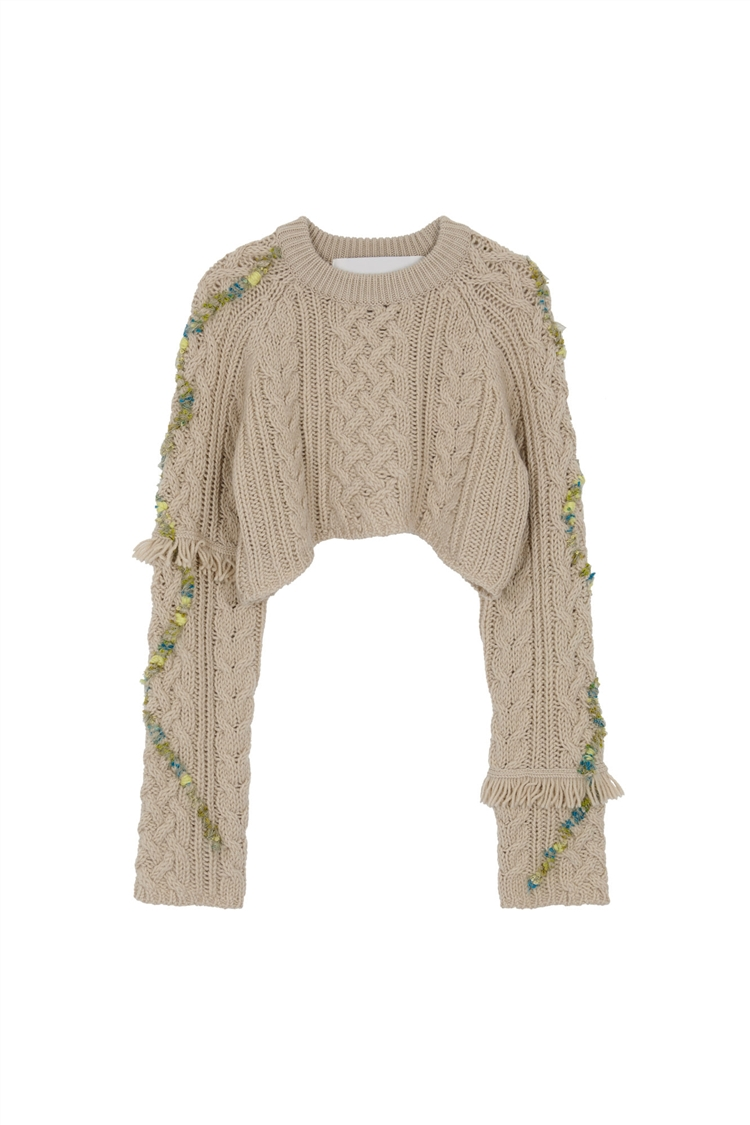 ADIA CROPPED CABLE KNIT PULL OVER atb547w(OATMEAL)