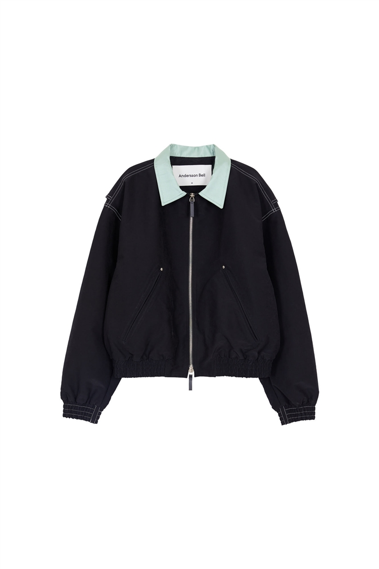 MIKA COLOUR CONTRAST SHORT BOMBER awa355w(BLACK)