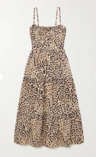 + NET SUSTAIN Alexia leopard-print gathered cotton-poplin midi dress
