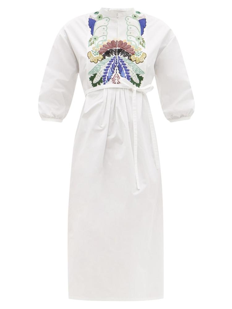 자수 코튼 포플린 미디 드레스