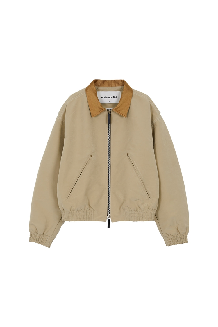 MIKA COLOUR CONTRAST SHORT BOMBER awa355w(BEIGE)