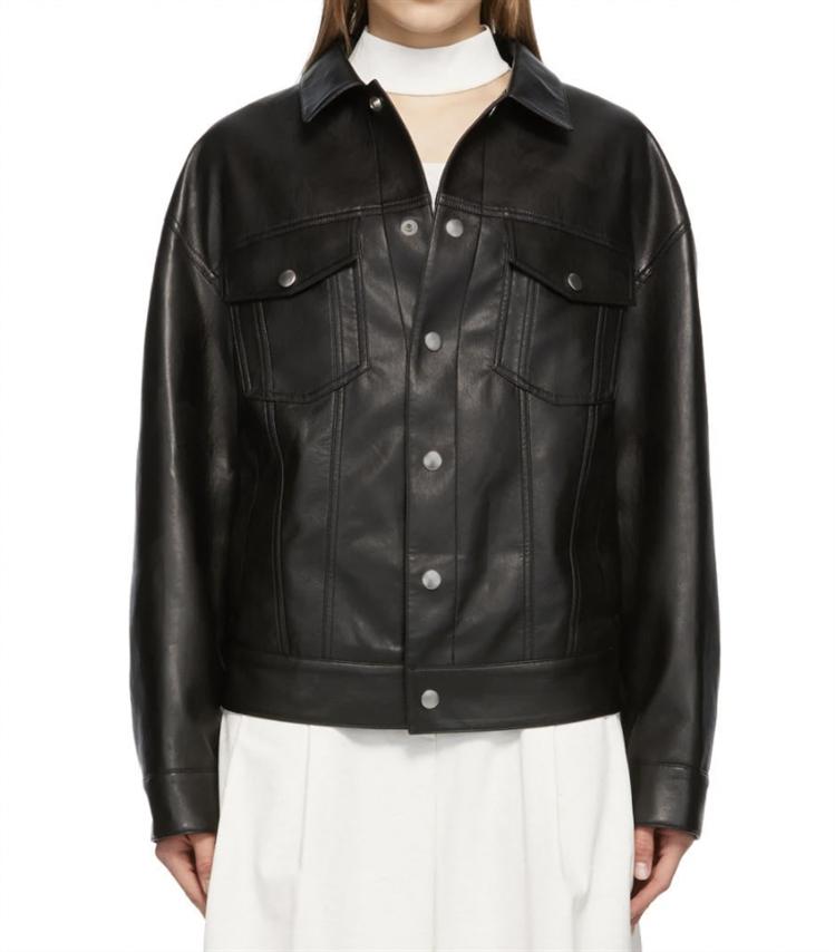 블랙 인조 가죽 재킷