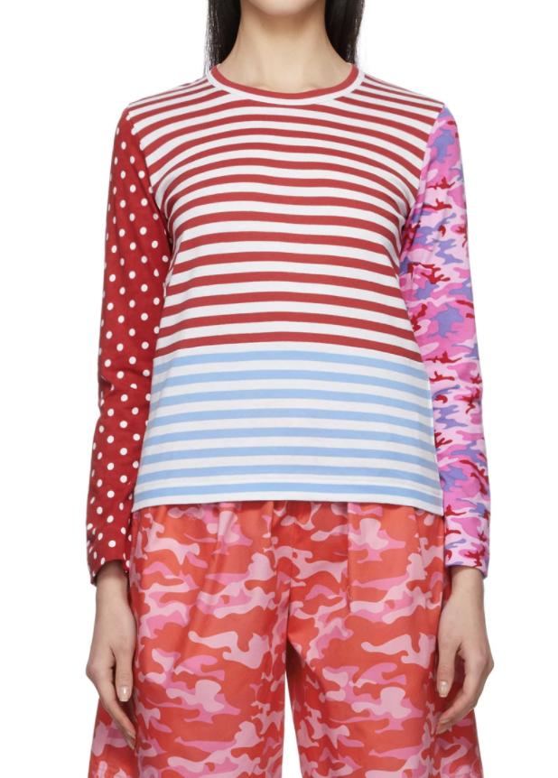 멀티컬러 멀티 패턴 롱 슬리브 티셔츠