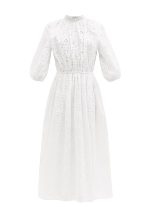 브로더리 앙글레즈 오가닉 코튼 포플린 드레스