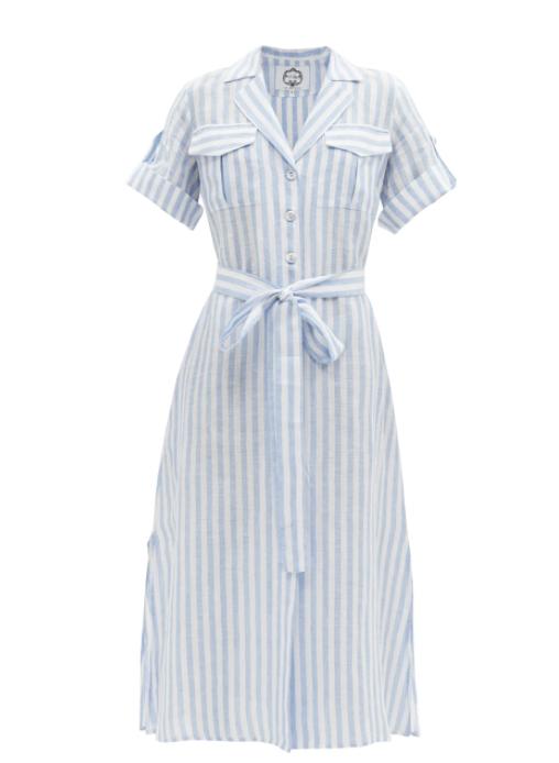스트라이프 리넨 포플린 셔츠 드레스