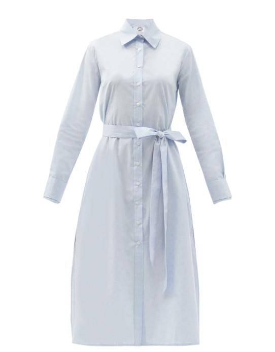 코튼 포플린 미디 셔츠 드레스