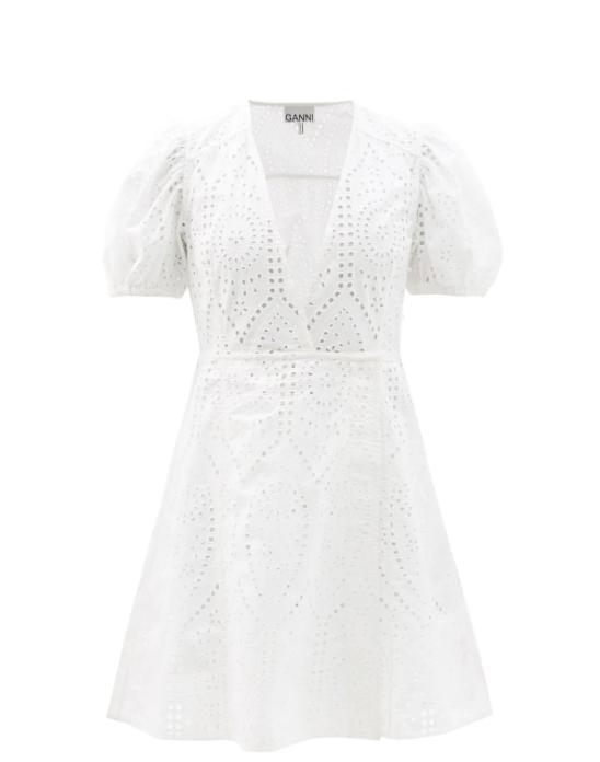 크로스 브로더리 앙글레즈 오가닉 코튼 드레스