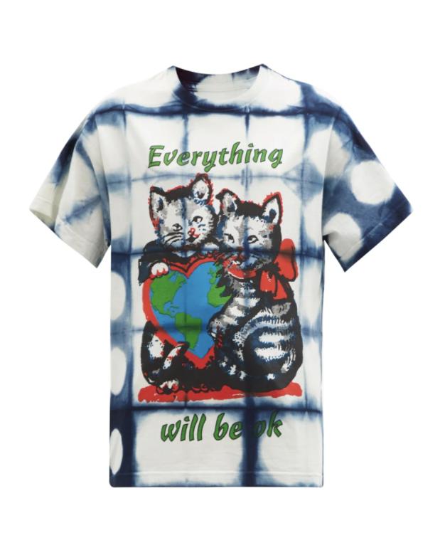 그레이트풀 프린트 & 다이 코튼 저지 티셔츠