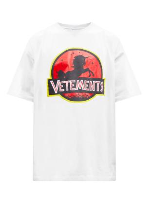 와일드 유니콘 프린트 코튼 저지 티셔츠